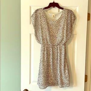 New white & grey leopard print mini dress